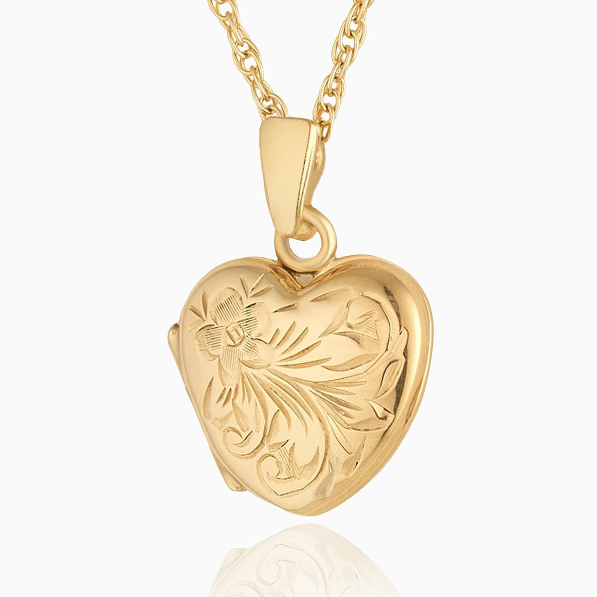 Product title: Hand Engraved Petite Floral Heart Locket, product type: Locket