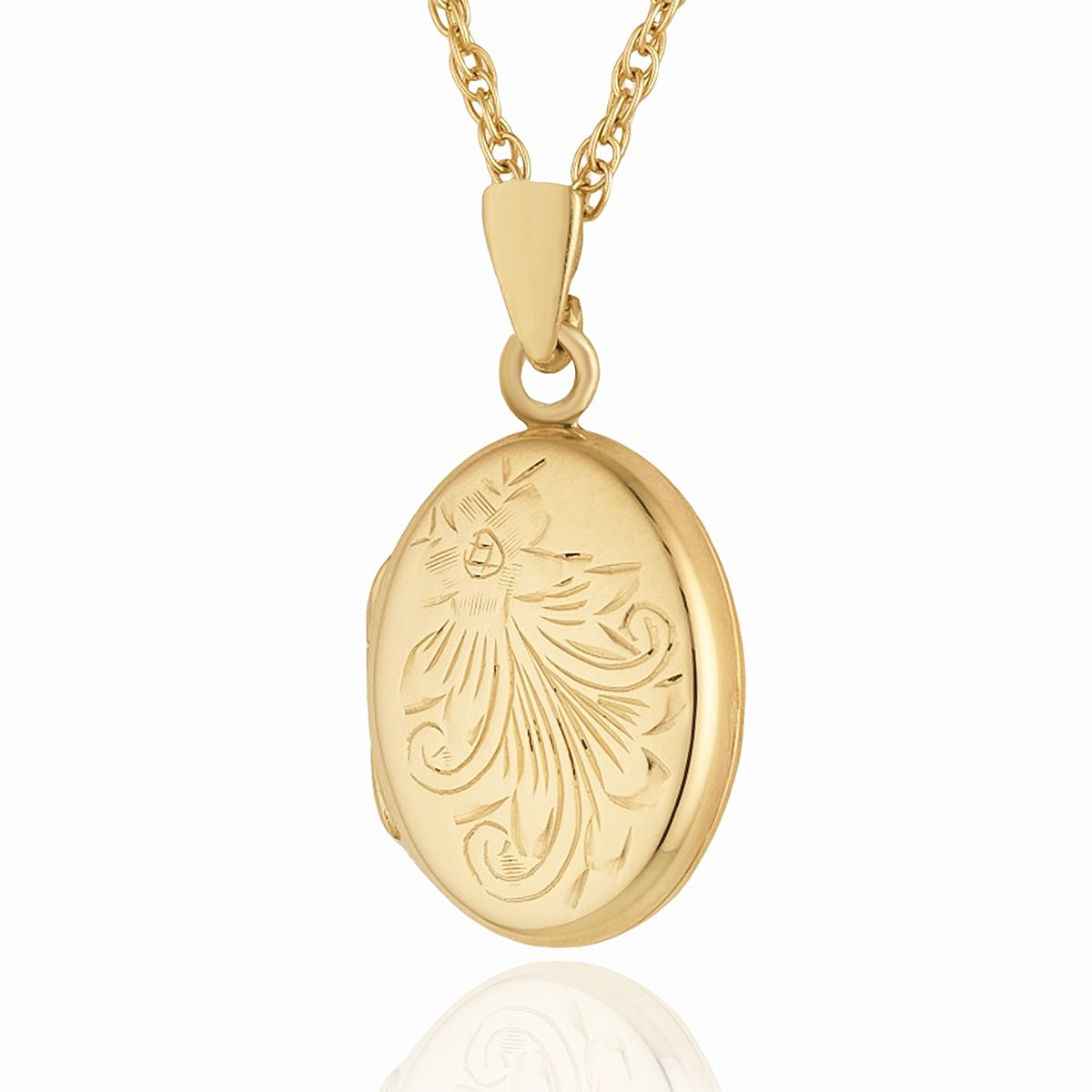 Product title: Hand Engraved Floral Petite Oval, product type: Locket