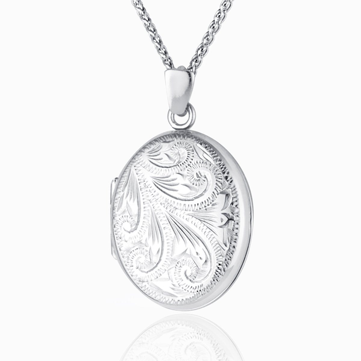 Hand Engraved White Gold Oval Locket