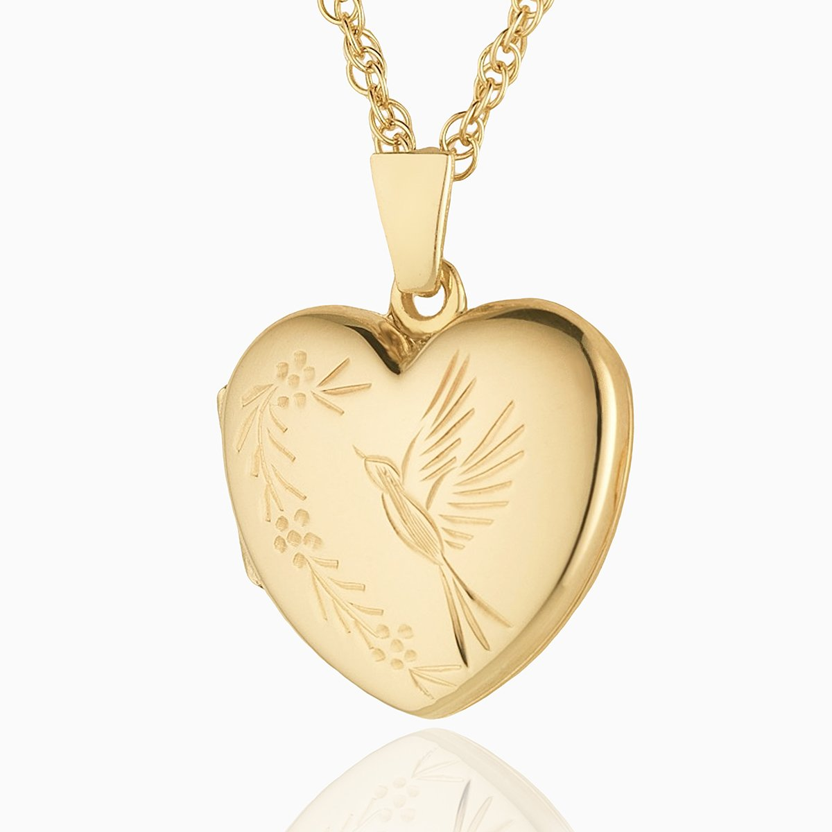 Product title: Hand Engraved Gold Bird Locket, product type: Locket