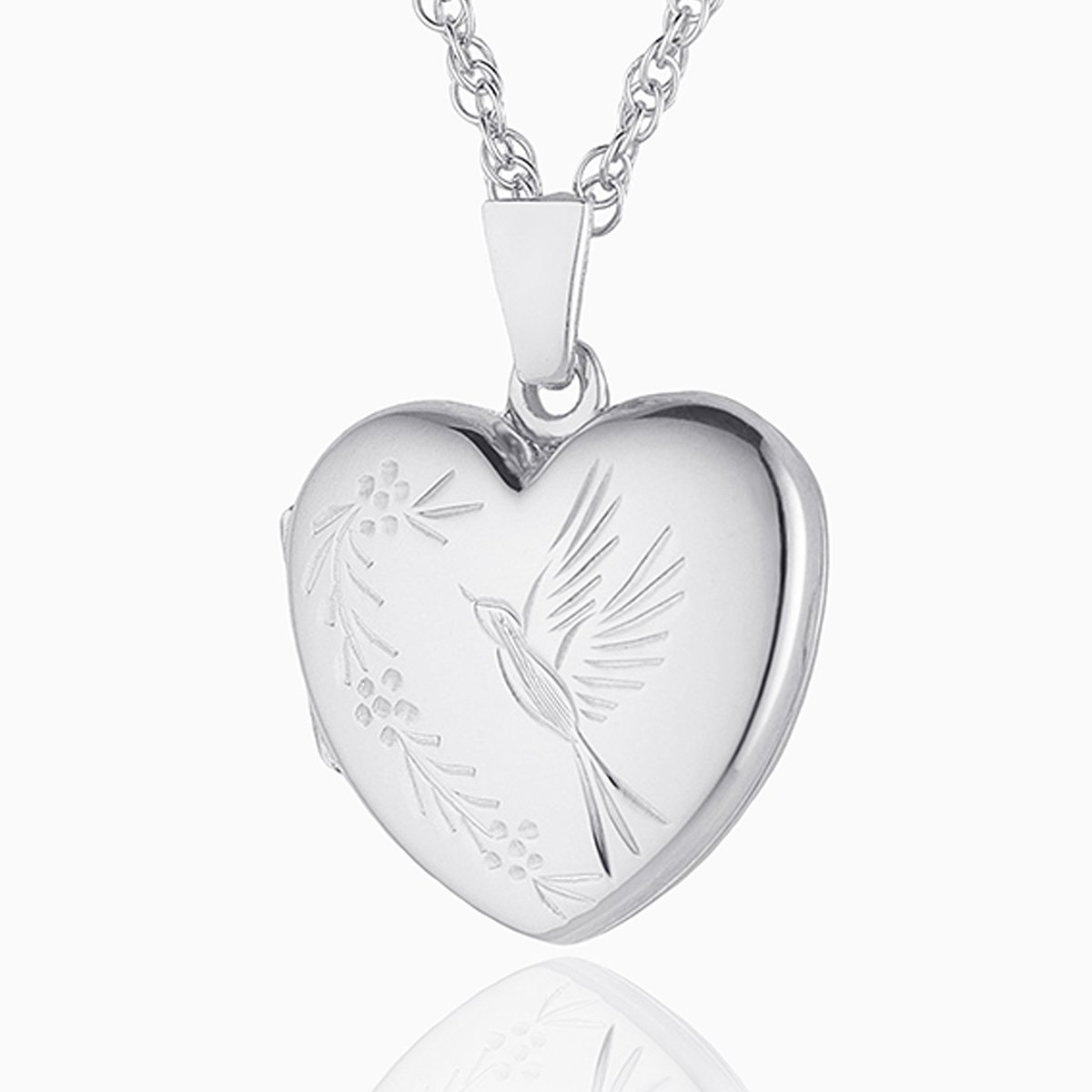 Product title: Hand Engraved White Gold Bird Locket, product type: Locket