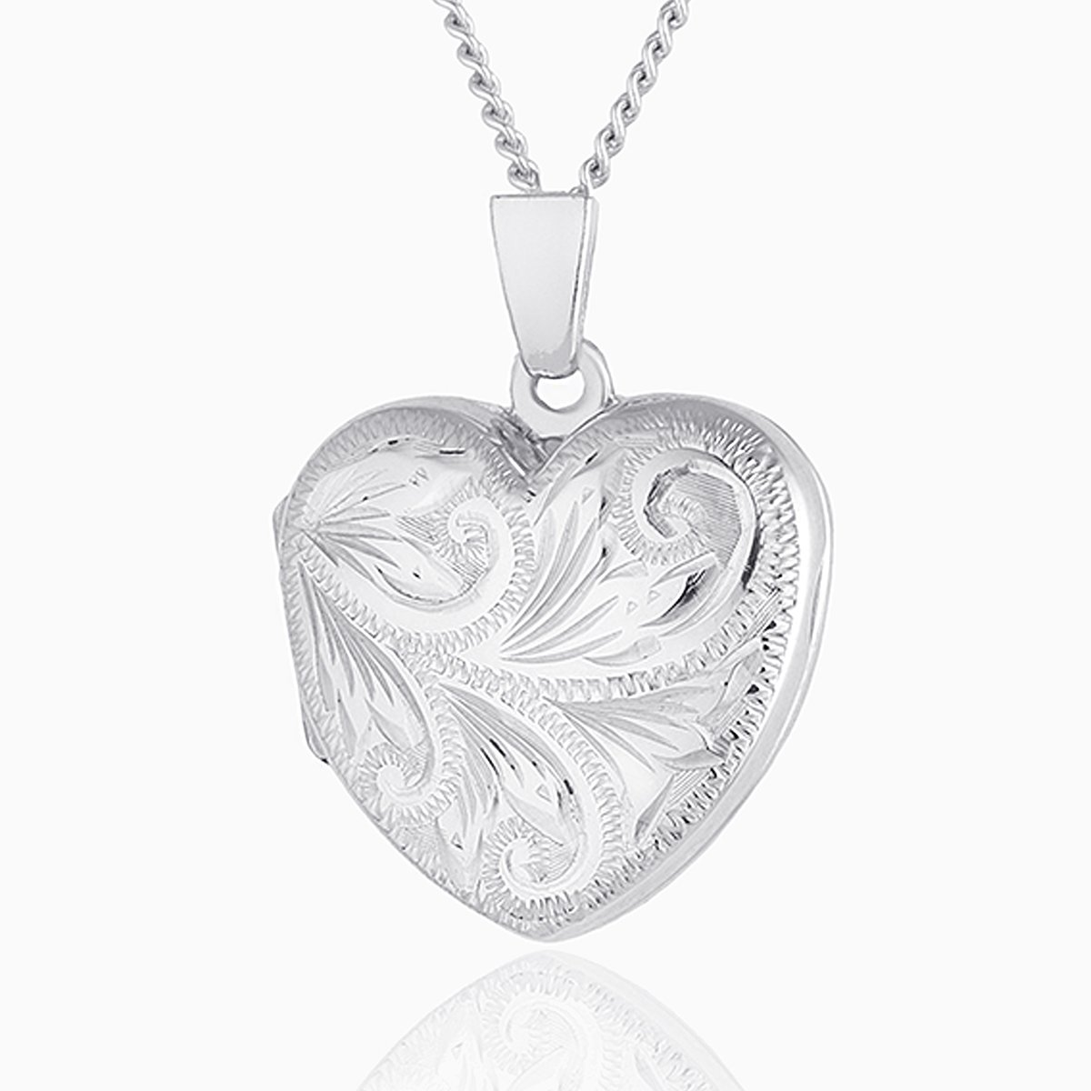Product title: Hand Engraved White Gold Foliate Locket, product type: Locket
