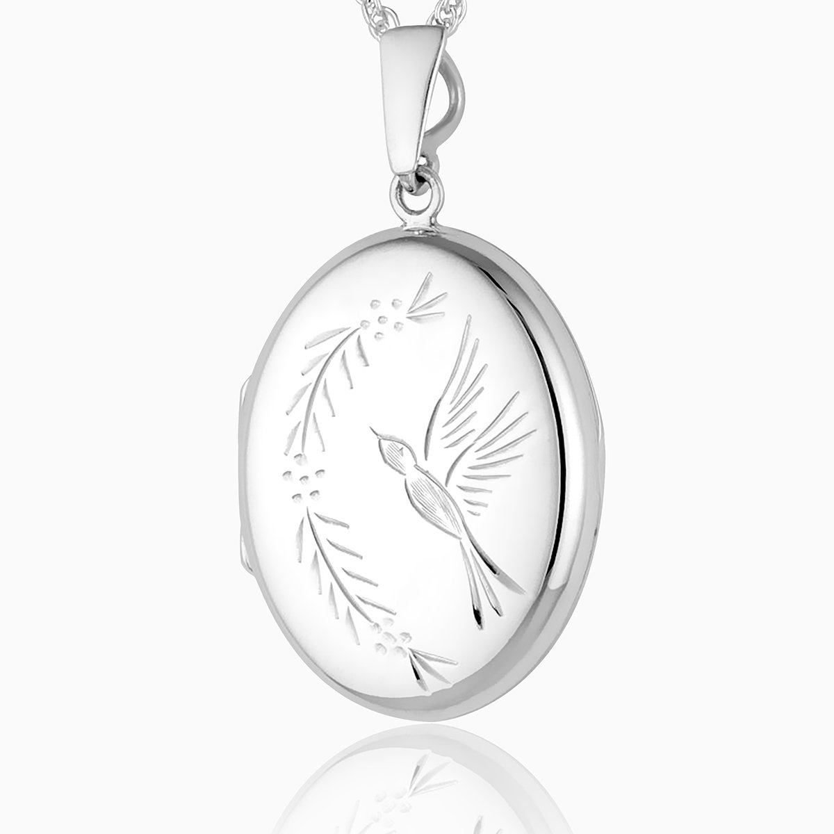 Product title: Hand Engraved Oval Bird Locket, product type: Locket
