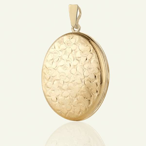 Product title: Hand Engraved Floral 4-Photo Gold Locket 30 mm, product type: Locket