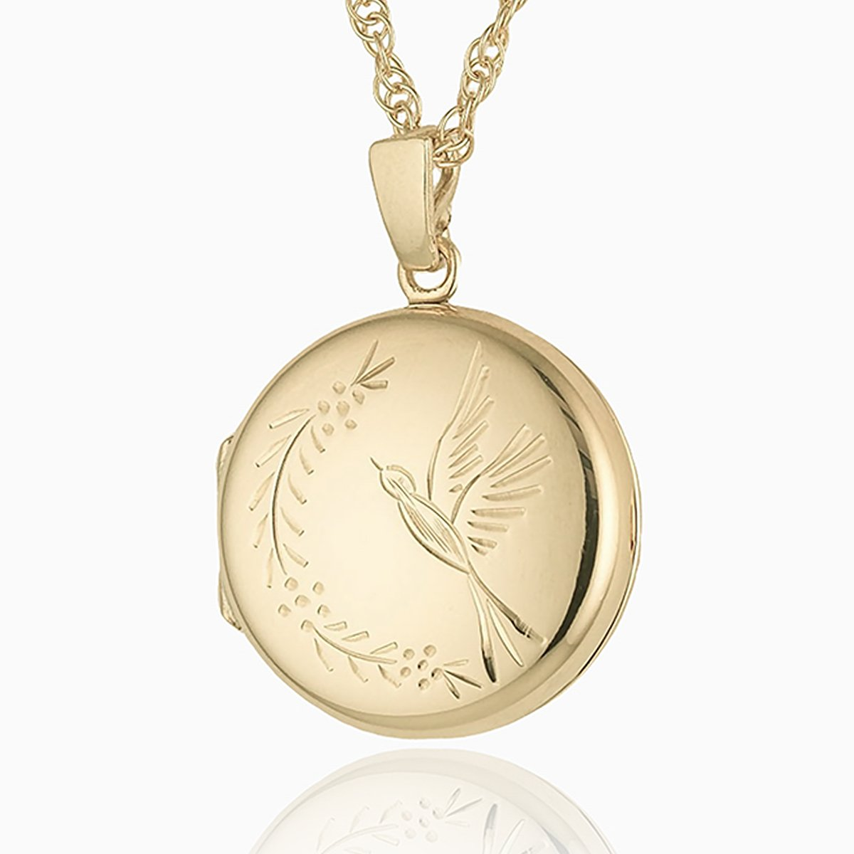Product title: Hand Engraved Round Gold Bird Locket, product type: Locket