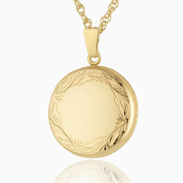 Product title: Hand Engraved Gold Round Border Locket, product type: Locket