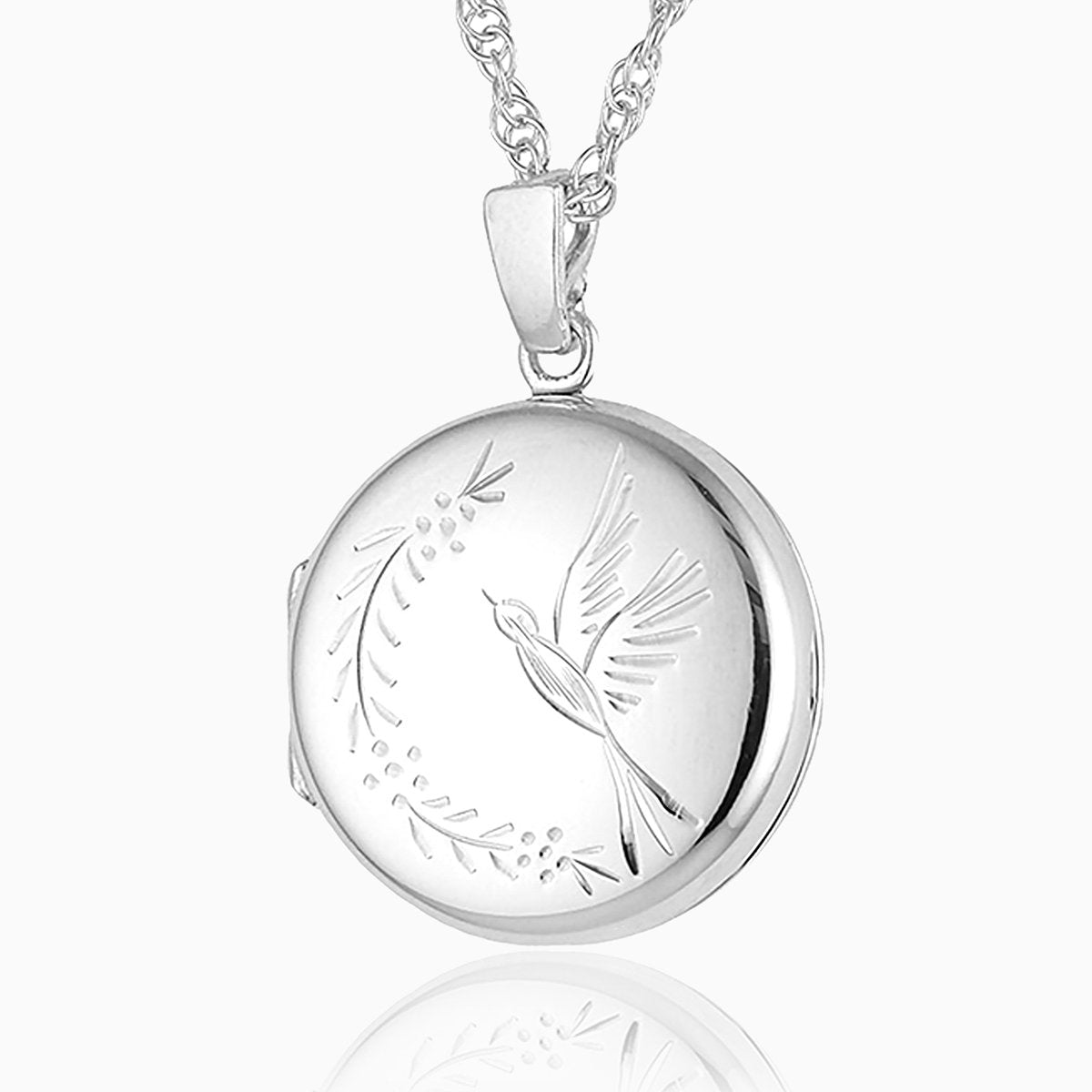 Product title: Hand Engraved Silver Round Bird Locket, product type: Locket