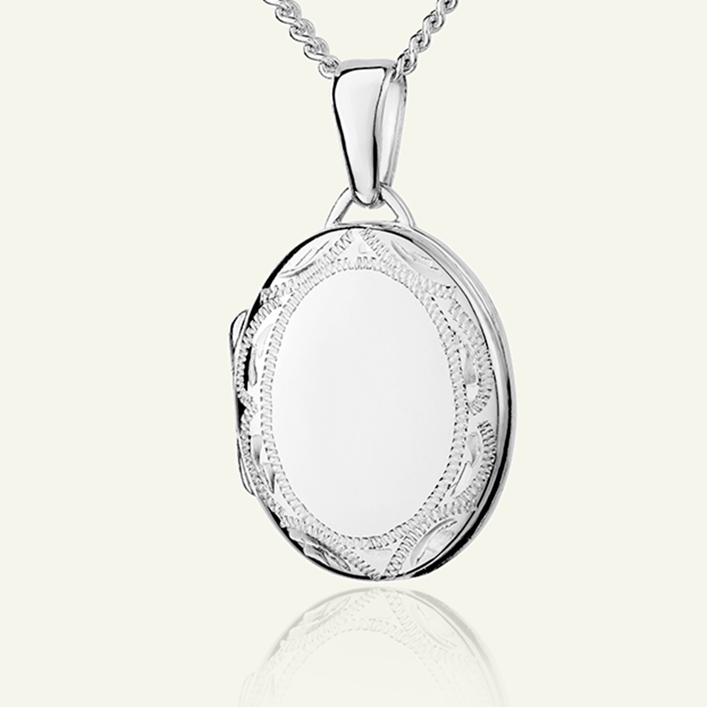 Product title: Petite White Gold Oval Border Locket, product type: Locket