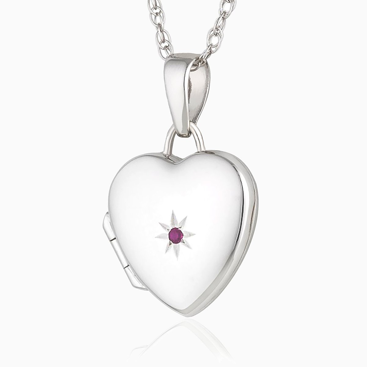 Product title: Petite White Gold and Ruby Locket, product type: Locket