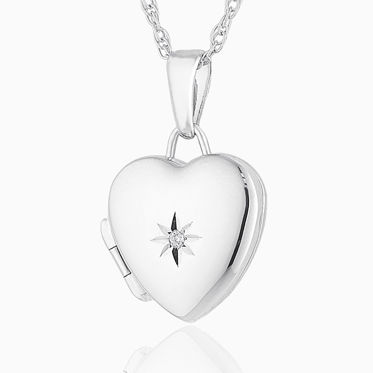 Product title: Petite White Gold and Diamond Locket, product type: Locket