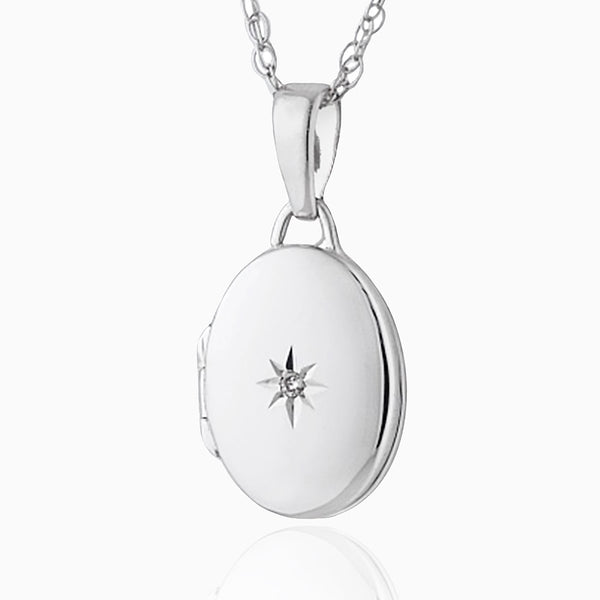 Product title: Petite White Gold Oval Diamond Locket, product type: Locket