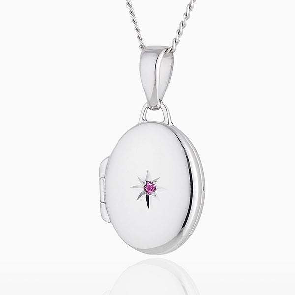 Product title: Petite White Gold and Pink Sapphire Oval Locket, product type: Locket