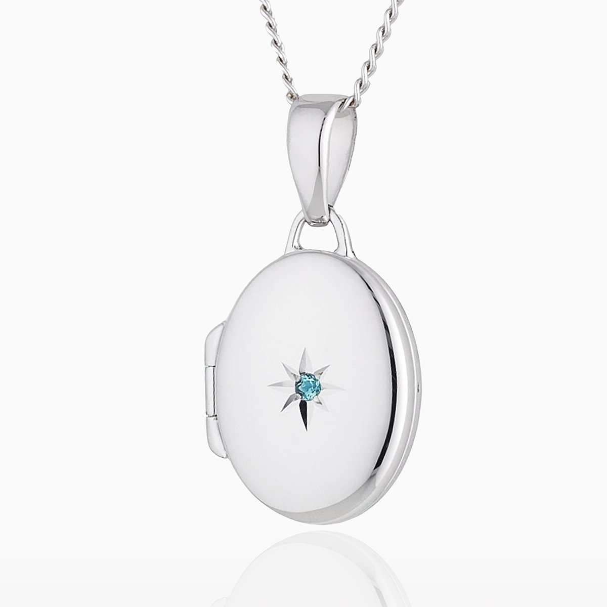 Product title: Petite White Gold and Topaz Oval Locket, product type: Locket