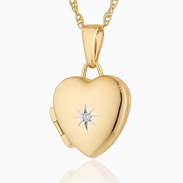 Product title: Petite Gold and Diamond Heart Locket 14 mm, product type: Locket