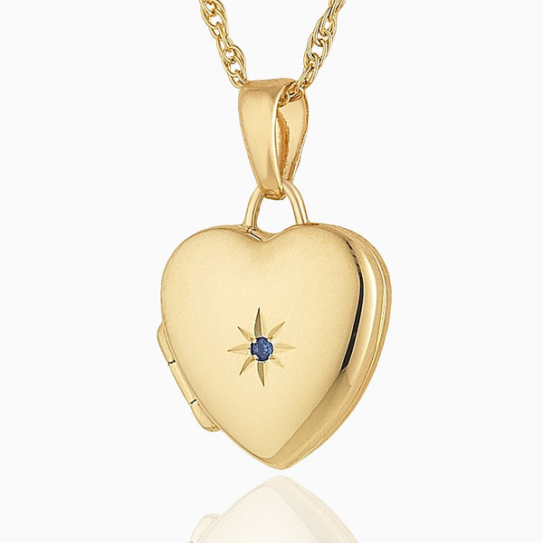 Product title: Petite Gold and Sapphire Heart Locket, product type: Locket