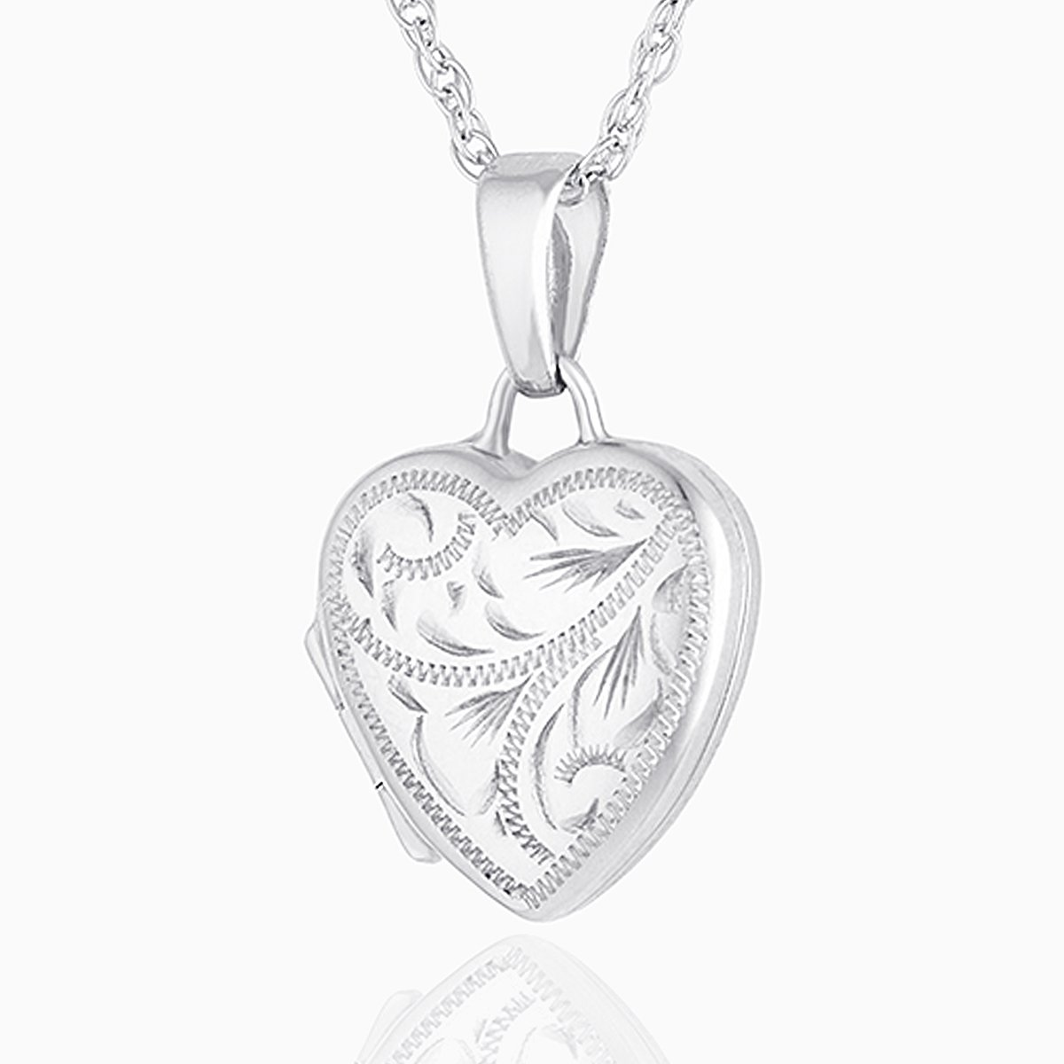 Product title: White Gold Engraved Petite Heart Locket, product type: Locket