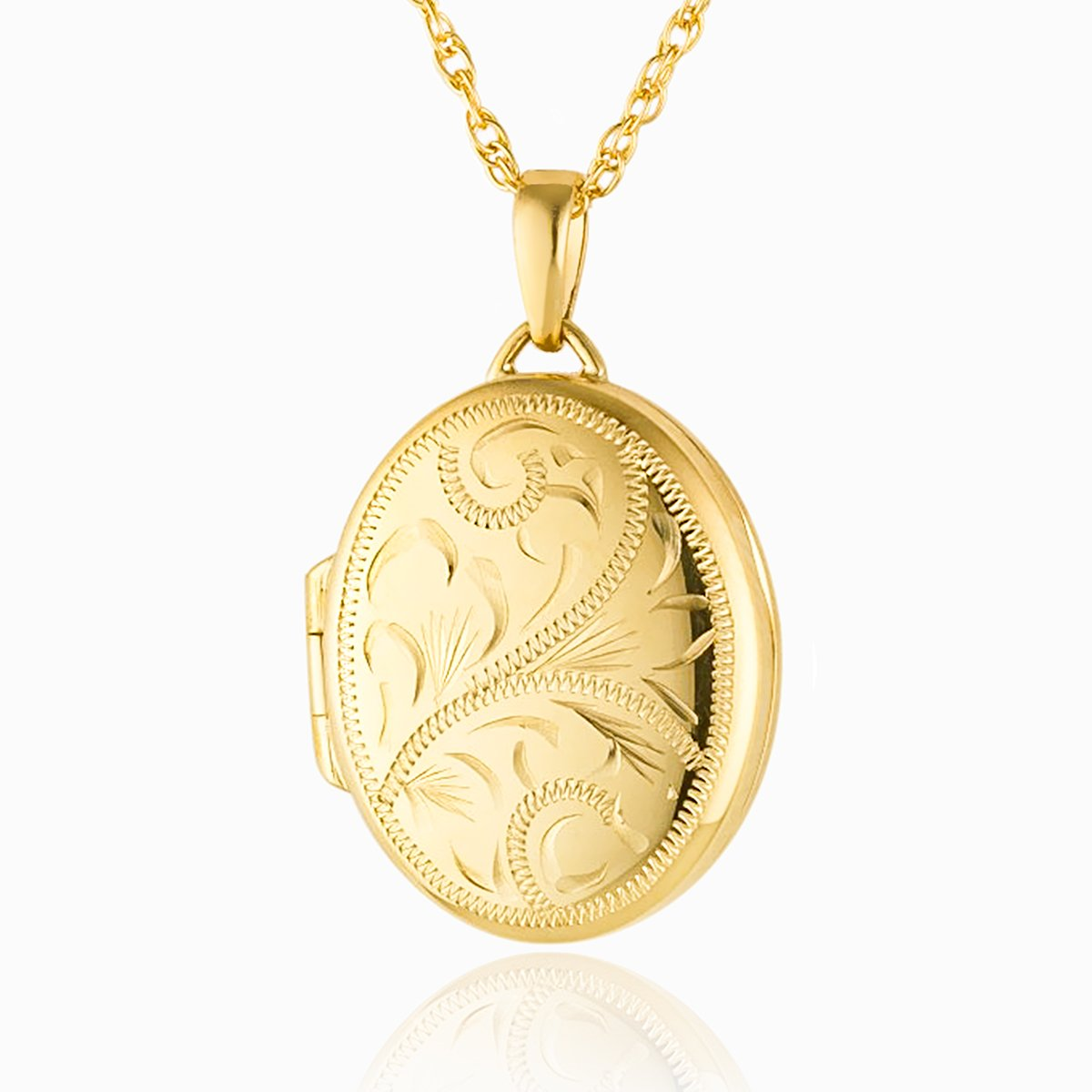 Medium Oval Gold Engraved