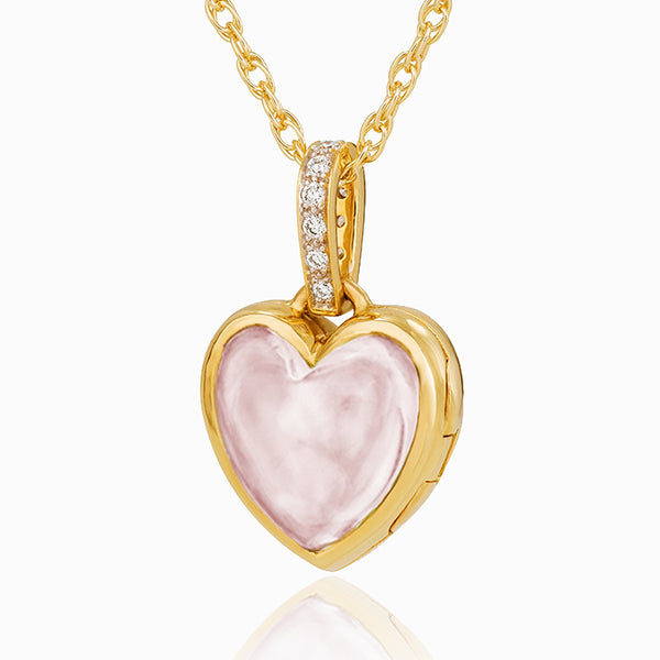 Product title: Diamond Pavé Rose Quartz Keepsake Locket, product type: Locket