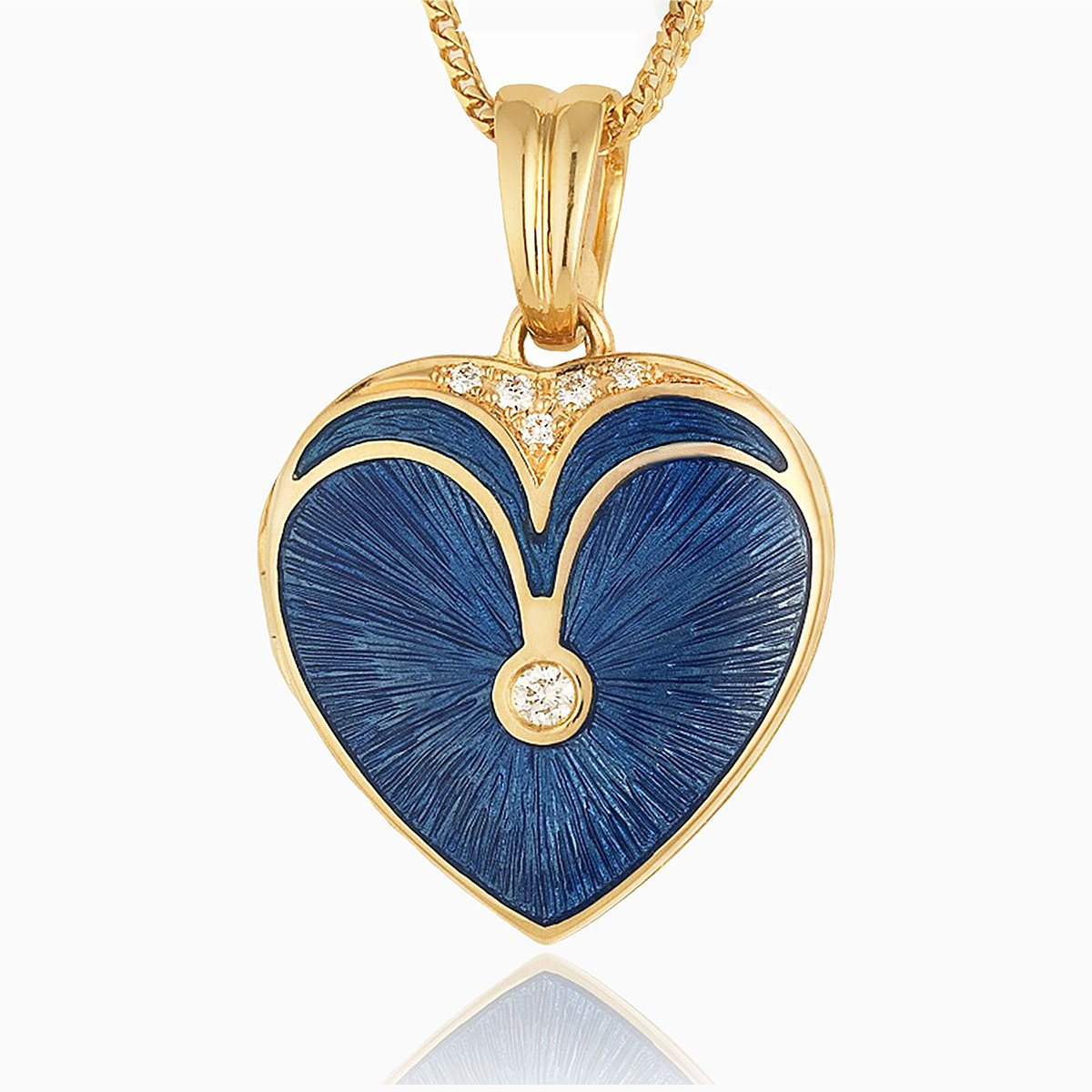Product title: Blue Guilloche Heart Locket, product type: Locket