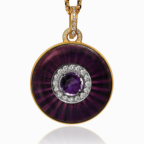 Product title: Round Amethyst Guilloche Locket, product type: Locket