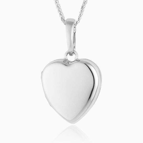 Product title: 18 ct Petite White Gold Heart Locket, product type: Locket