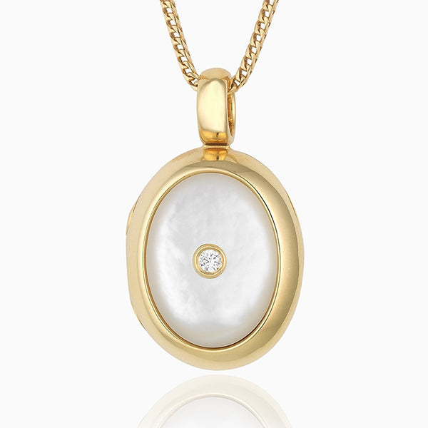 Product title: Mother of Pearl and Diamond Locket, product type: Locket