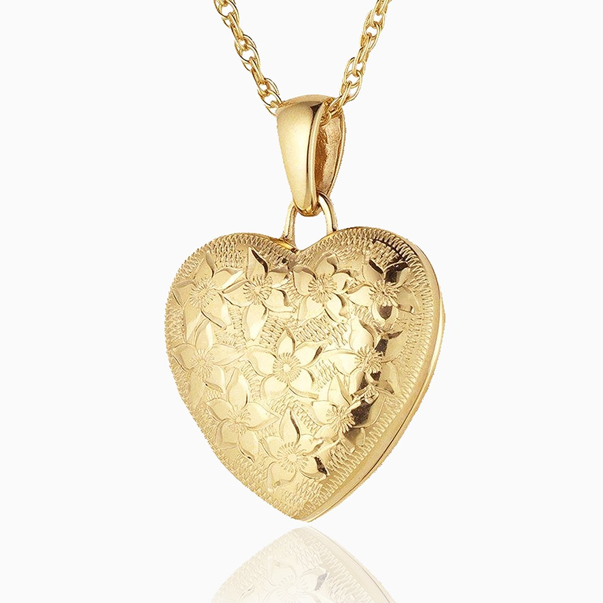 Product title: Hand Engraved Floral Gold Locket, product type: Locket