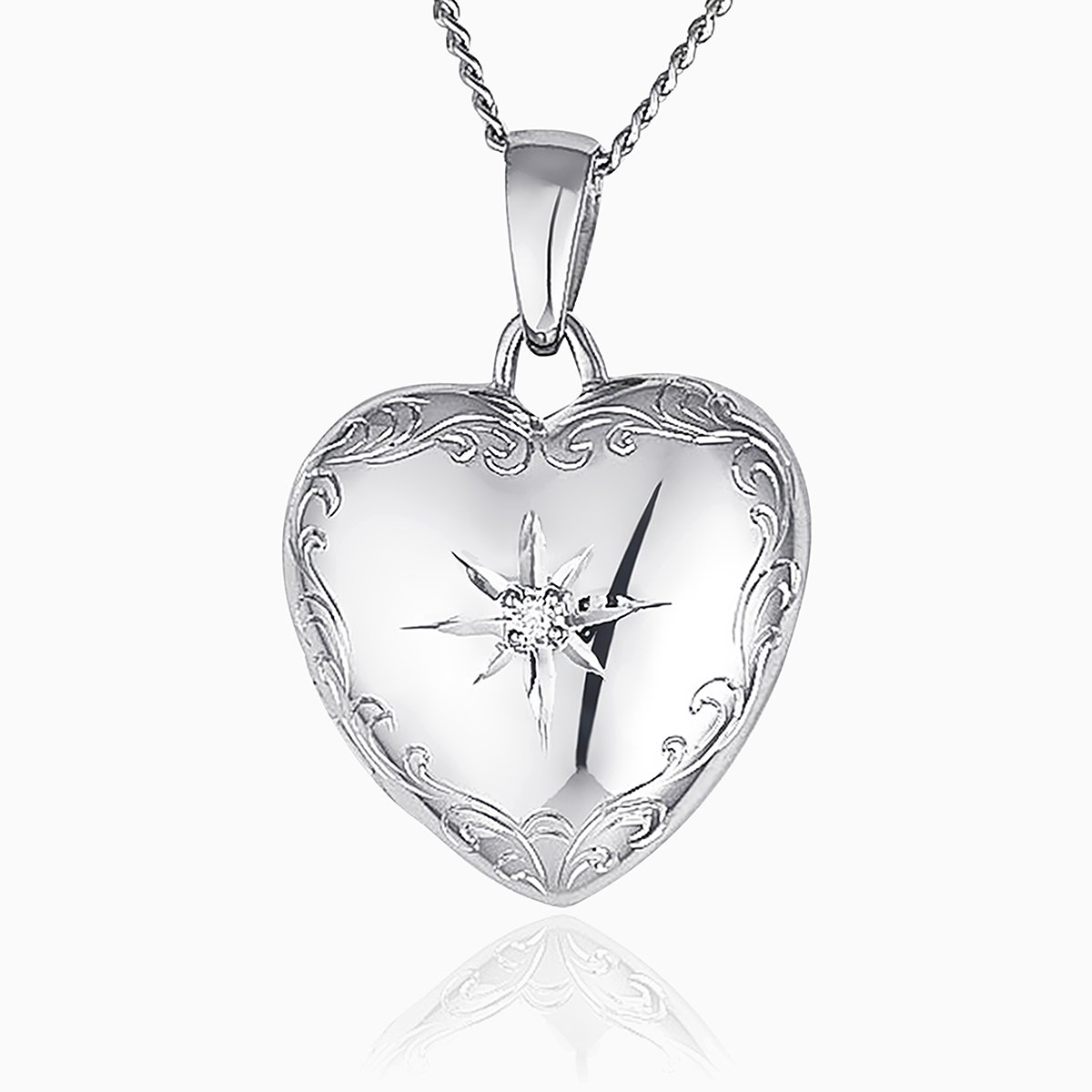 Product title: Romantic White Gold and Diamond Locket, product type: Locket