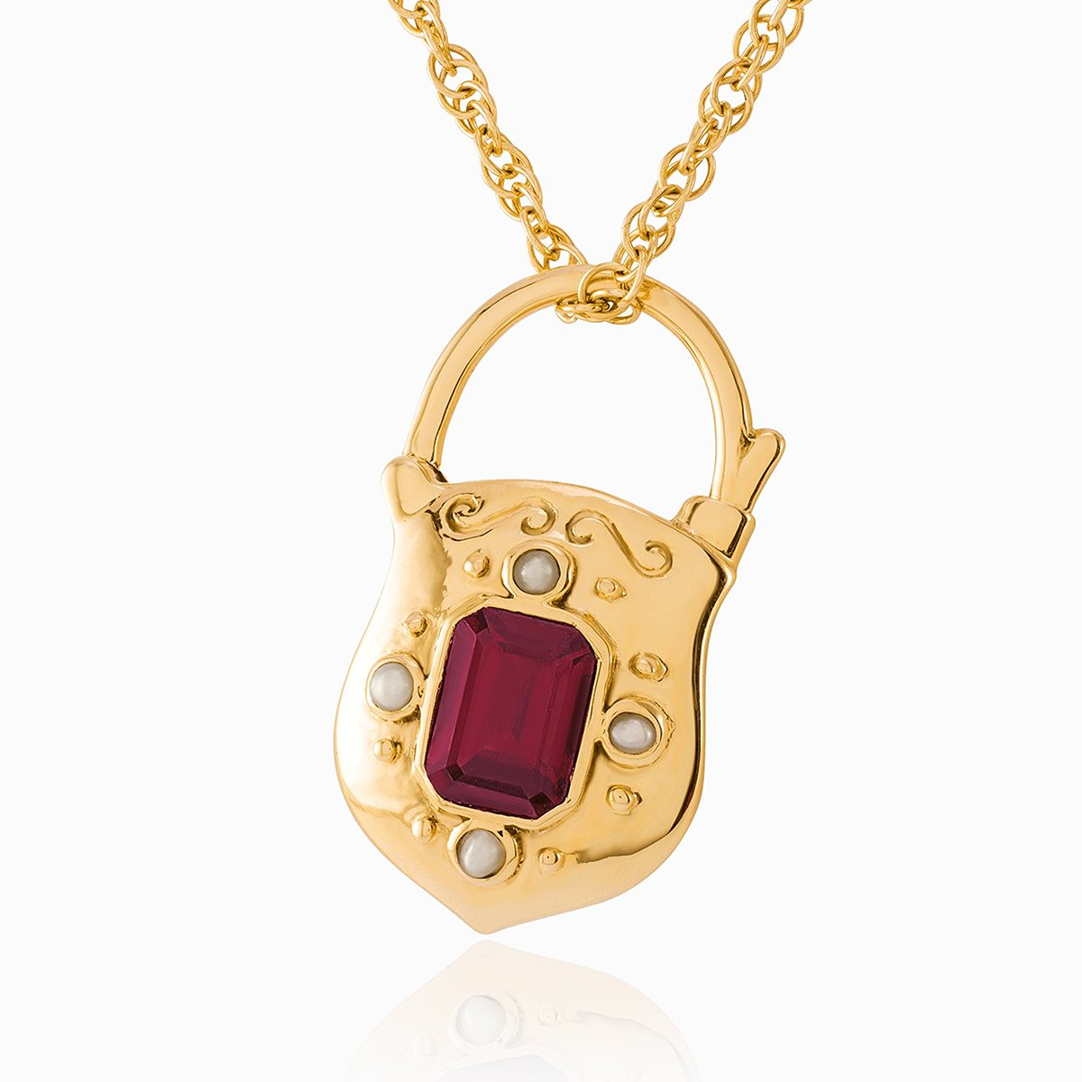 Product title: Vintage Padlock Garnet Locket, product type: Locket