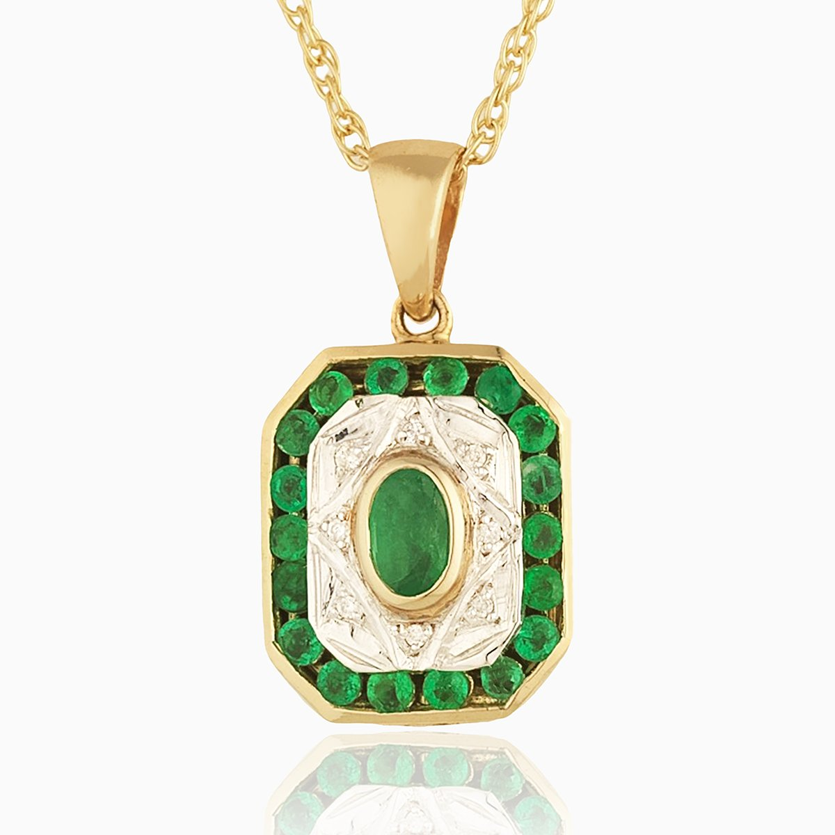 Product title: Emerald and Diamond Art Deco Locket, product type: Locket