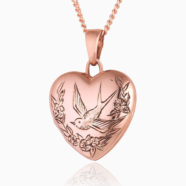 Product title: Rose Gold Swallow and Flowers Locket, product type: Locket