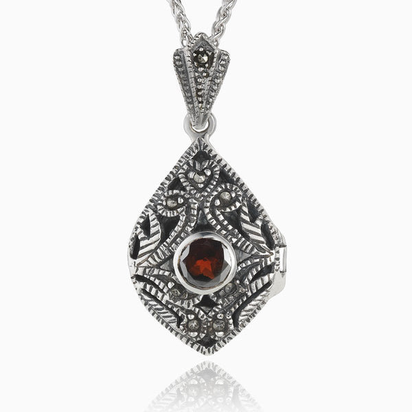 Product title: Marcasite and Garnet Filigree Locket, product type: Locket