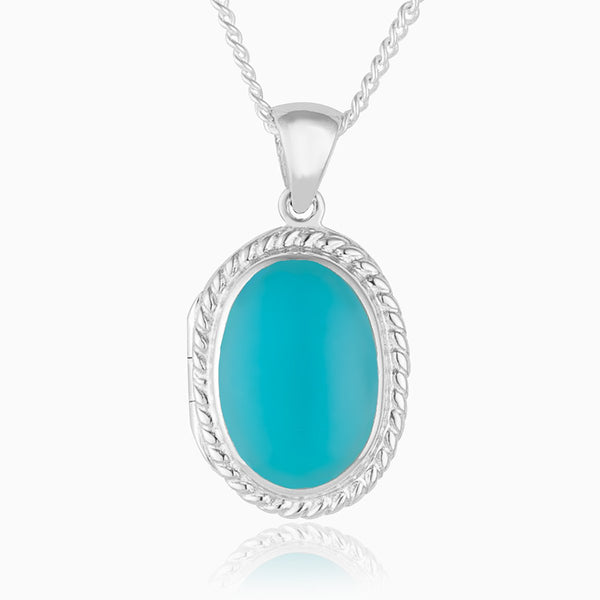 Product title: Petite Turquoise Oval Locket, product type: Locket