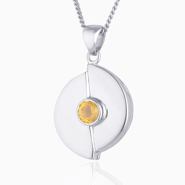 Contemporary White Gold Citrine Locket