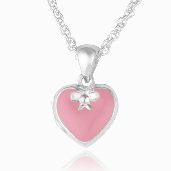 Product title: Girl's Pink Heart and Bow Locket, product type: Locket