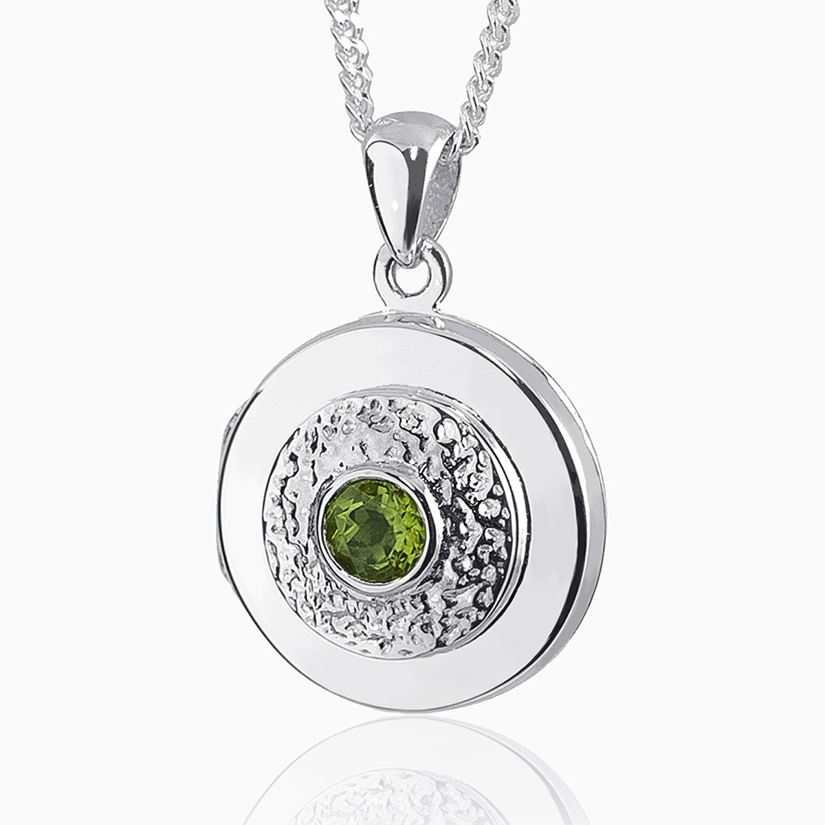 Product title: Contemporary White Gold Peridot Locket, product type: Locket