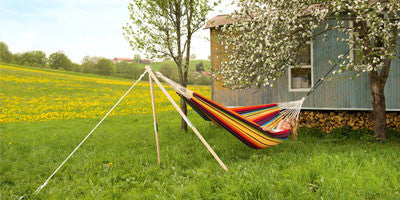 Hammock supported by Madera stand