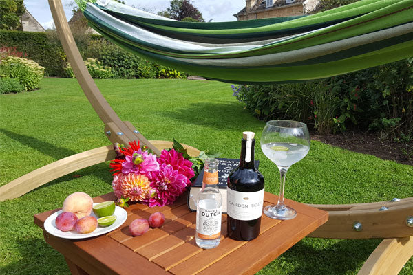 Hammock, fruit, flowers and gin and tonic