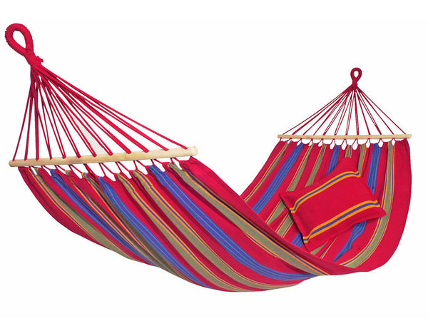 Empty hanging Aruba red blue yellow striped hammock with white background