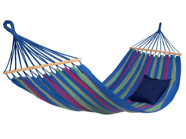 Empty hanging Aruba blue striped hammock with white background