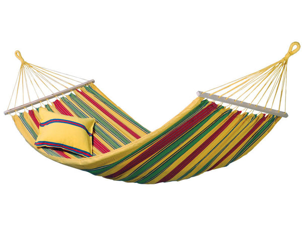 Empty hanging Aruba yellow red green striped hammock with white background