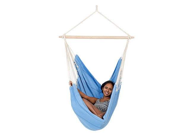 Girl sitting in Artista Blue Hammock Chair