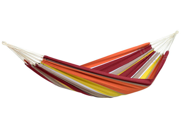 Empty colourful striped Acerola Barbados hammock