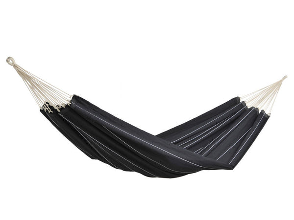Hanging empty Barbados hammock in black with fine white stripes