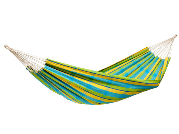 Hanging empty Barbados hammock in Lemon yellow and blue stripes