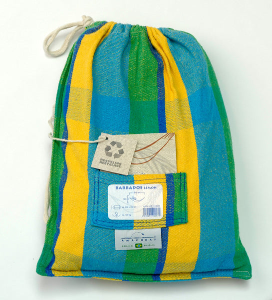 Packaging for green blue yellow striped Lemon Barbados hammock