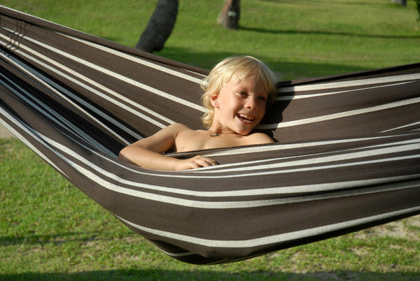 Child sitting in brown with thin light stripe Mocca Barbados hammock