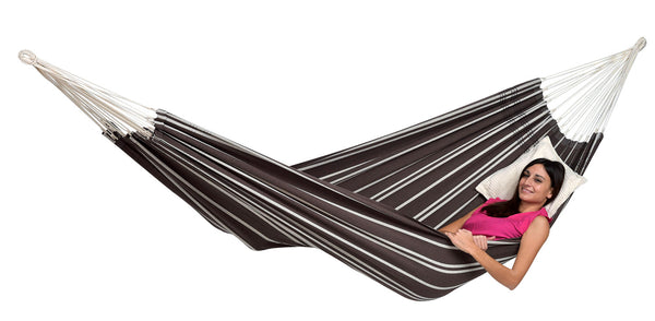 Woman lying in brown with thin light stripe Mocca Barbados hammock