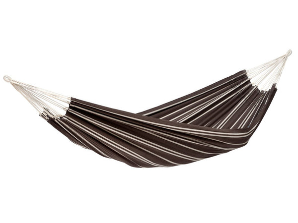 Hanging empty Barbados hammock in Mocca brown with cream stripes