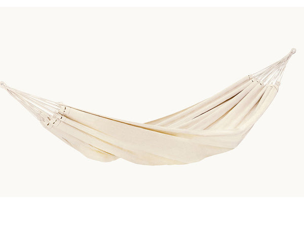 Hanging empty Barbados hammock in Natura white